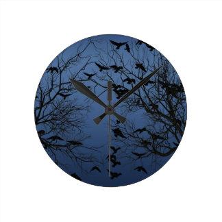 Crow flock round clock
