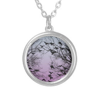 Crow flock silver plated necklace