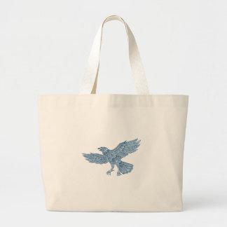 Crow Flying Mandala Large Tote Bag