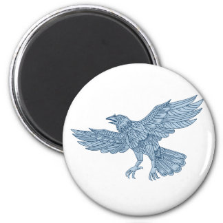 Crow Flying Mandala Magnet
