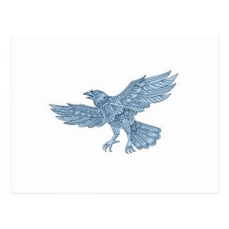 Crow Flying Mandala Postcard