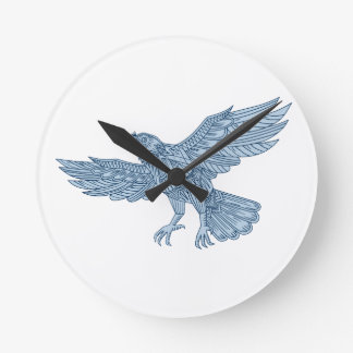 Crow Flying Mandala Round Clock