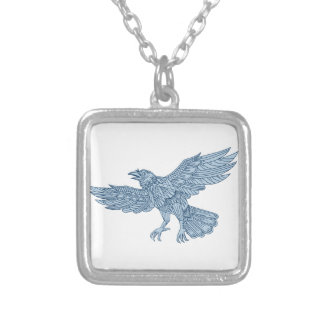 Crow Flying Mandala Silver Plated Necklace