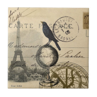 Crow Globe Paris Tile or Trivet