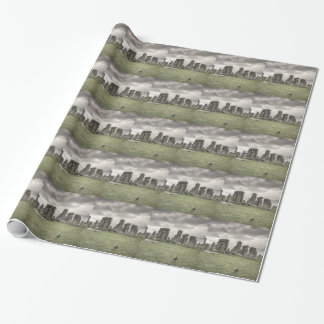 Crow in front of Stonehenge, England Wrapping Paper