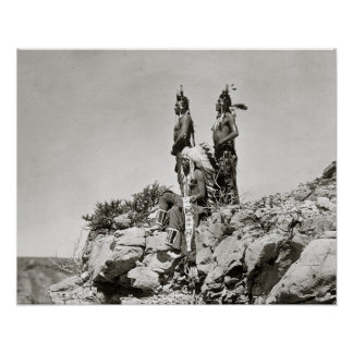 Crow Indians On Cliff, 1905 Print