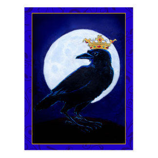 Crow King or Queen with Moon and crown postcard