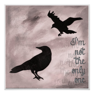 Crow Not the Only One Pink Collage Art Poster