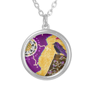 Crow on a book silver plated necklace