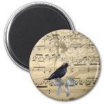 Crow on a music sheet fridge magnet