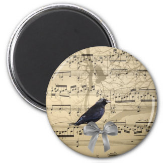 Crow on a music sheet magnet