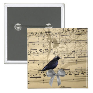 Crow on a music sheet pinback buttons