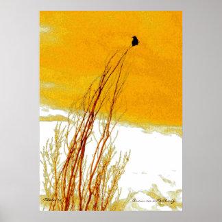 Crow on a Redtwig Dogwood Print