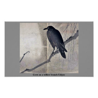 Crow on a willow branch Ukiyoe Poster