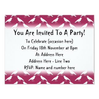 Crow Pattern. Burgundy and White. 11 Cm X 14 Cm Invitation Card