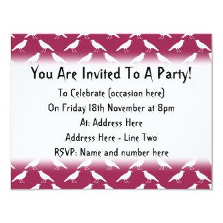 Crow Pattern. Burgundy and White. 11 Cm X 14 Cm Invitation Card