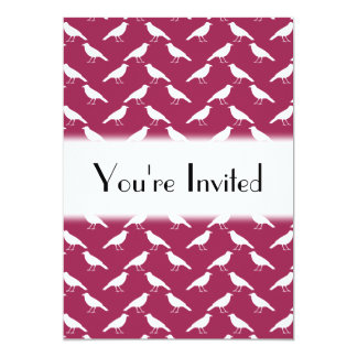 Crow Pattern. Burgundy and White. 13 Cm X 18 Cm Invitation Card