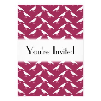 Crow Pattern. Burgundy and White. Personalized Invitation