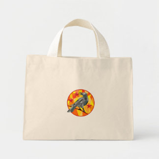 Crow Perch Stars Circle Low Polygon Mini Tote Bag