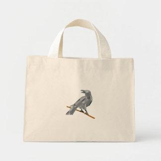 Crow Perching Looking Back Low Polygon Mini Tote Bag