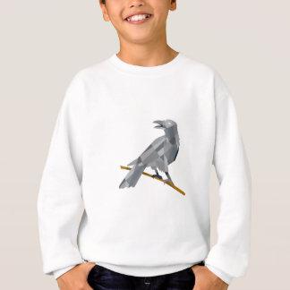 Crow Perching Looking Back Low Polygon Sweatshirt