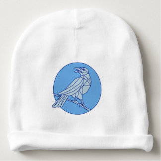 Crow Perching Looking Side Circle Mono Line Baby Beanie