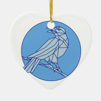 Crow Perching Looking Side Circle Mono Line Ceramic Ornament