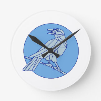 Crow Perching Looking Side Circle Mono Line Clock