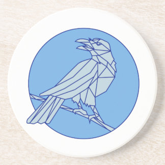 Crow Perching Looking Side Circle Mono Line Coaster