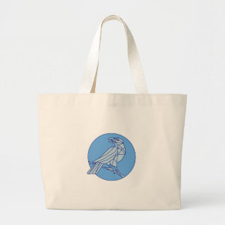 Crow Perching Looking Side Circle Mono Line Large Tote Bag