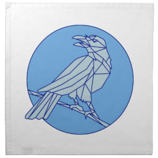 Crow Perching Looking Side Circle Mono Line Napkin