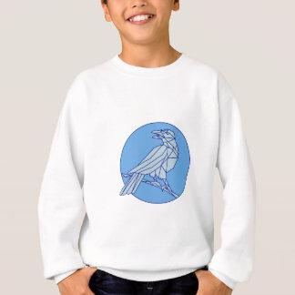 Crow Perching Looking Side Circle Mono Line Sweatshirt