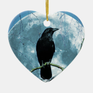 Crow Raven Moon Night Gothic Fantasy Stunning Ceramic Ornament