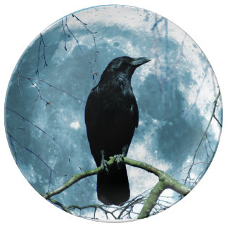 Crow Raven Moon Night Gothic Fantasy Stunning Plate