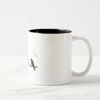 Crow Raven Sitting in Tree Two-Tone Coffee Mug