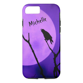Crow Silhouette Purple Moon iPhone 7 case