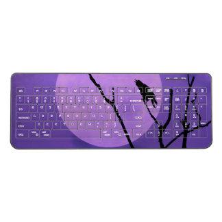 Crow Silhouette Purple Moon Wireless Keyboard