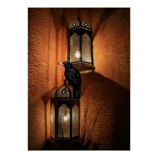 Crow Sits On The Night Lantern Poster