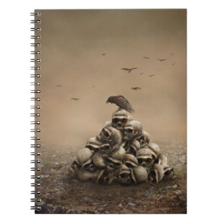 Crow Sitting On A Pile Of Sculls Spiral Note Book