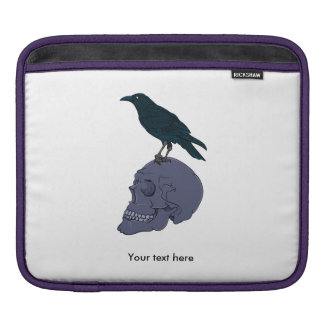 Crow Standing On A Human Skull Sleeves For iPads