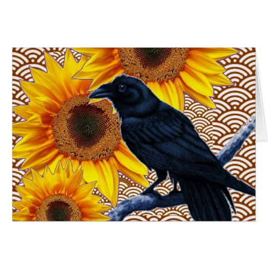 Crow Sunflowers Brown Pattern Gifts Card