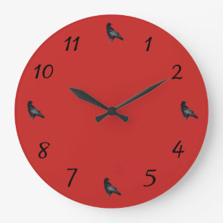 Crow Time Flies Large Clock