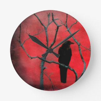 Crow Watcher Round Clock