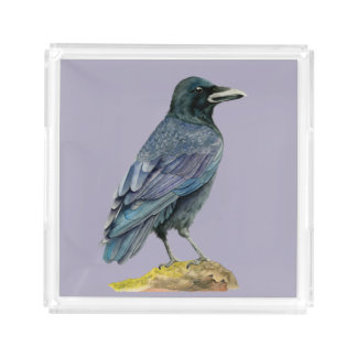 Crow Watercolor Painting Acrylic Tray