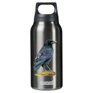 Crow Watercolor Painting Insulated Water Bottle