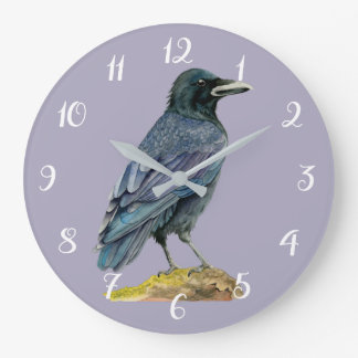 Crow Watercolor Painting Large Clock