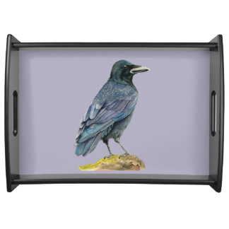 Crow Watercolor Painting Serving Tray