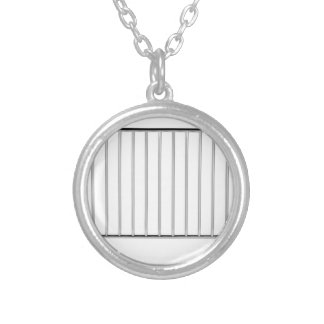 Crowd control fence silver plated necklace