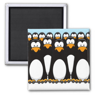 Crowd of Funny Cartoon Penguins on Snow Square Magnet