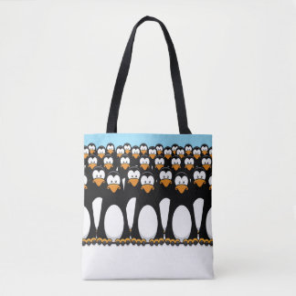 Crowd of Funny Cartoon Penguins on Snow Tote Bag
